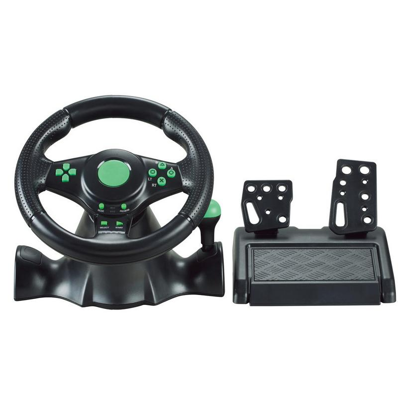 Car Racing Game Steering Wheel Gamepad 180 Degree For XBOX-360/For PS3/PS4/PC Dual-Motor Feedback Force Simulation Driving Car image