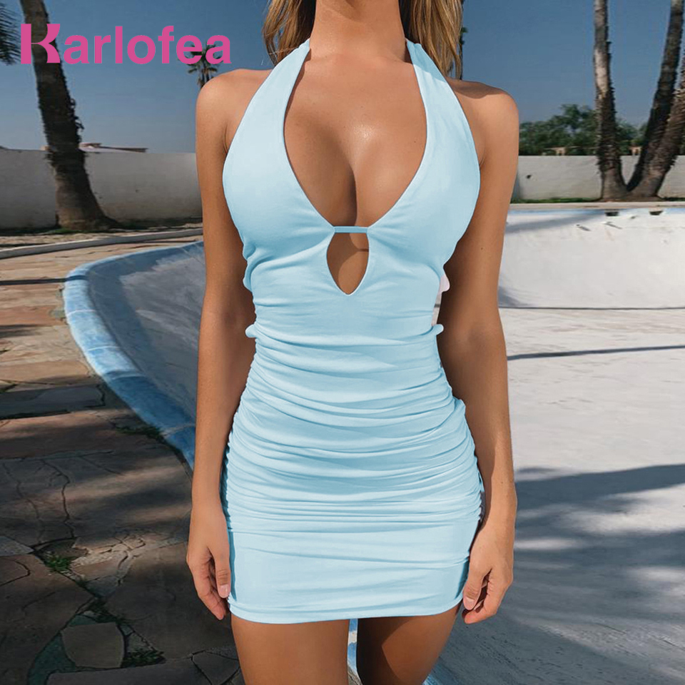 Karlofea Female Summer Mini Dress Women Sexy V Neck Beachwear Dress Fashion Solid Backless Halter Bodycon Outfits Vacation Dress image