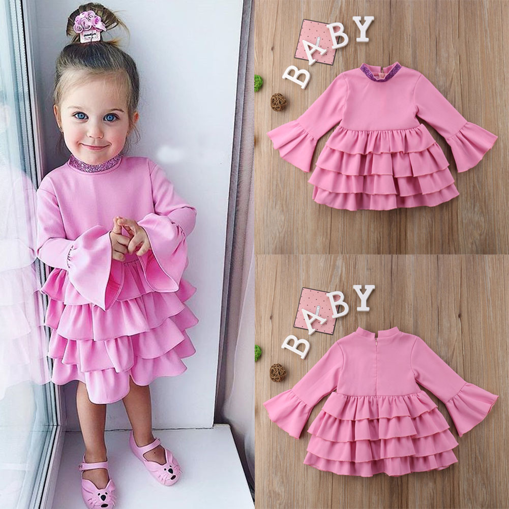 Dress Long-Sleeves Party Wedding Girl Princess Kid for Sequins Ruffles