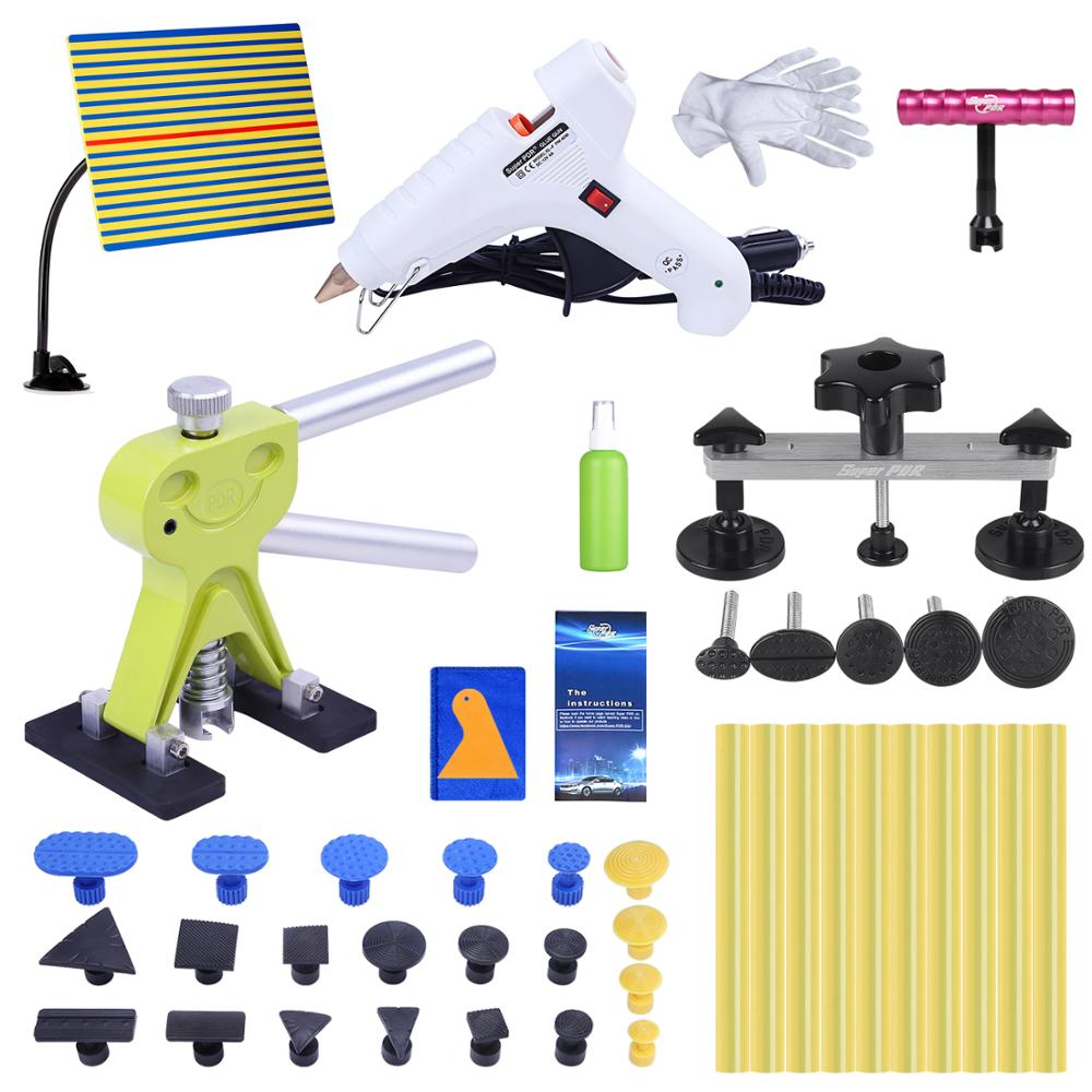 Super PDR Paintless Dent Repair Tools Auto Dent Pullers Suction Cup Hot Melt Glue Gun Glue Sticks Line Board Dent Pulling Bridge super pdr tools dent removal kit for car dent puller suction cup glue sticks for hot melt glue gun line board pump wedge air bag
