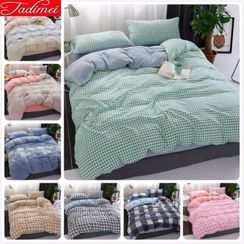 Green Plaid Duvet Cover Bedding Set Adult Couple Kids Soft Cotton Bed Linen Single Twin Full Queen King Size Bedspreads 220x240