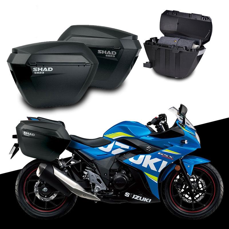 Para GSX250R SUZUKI GSX 250 R SHAD SH23 cajas laterales + juego de estantes para equipaje de motocicleta bolsas de sillín sistema de soporte de transporte