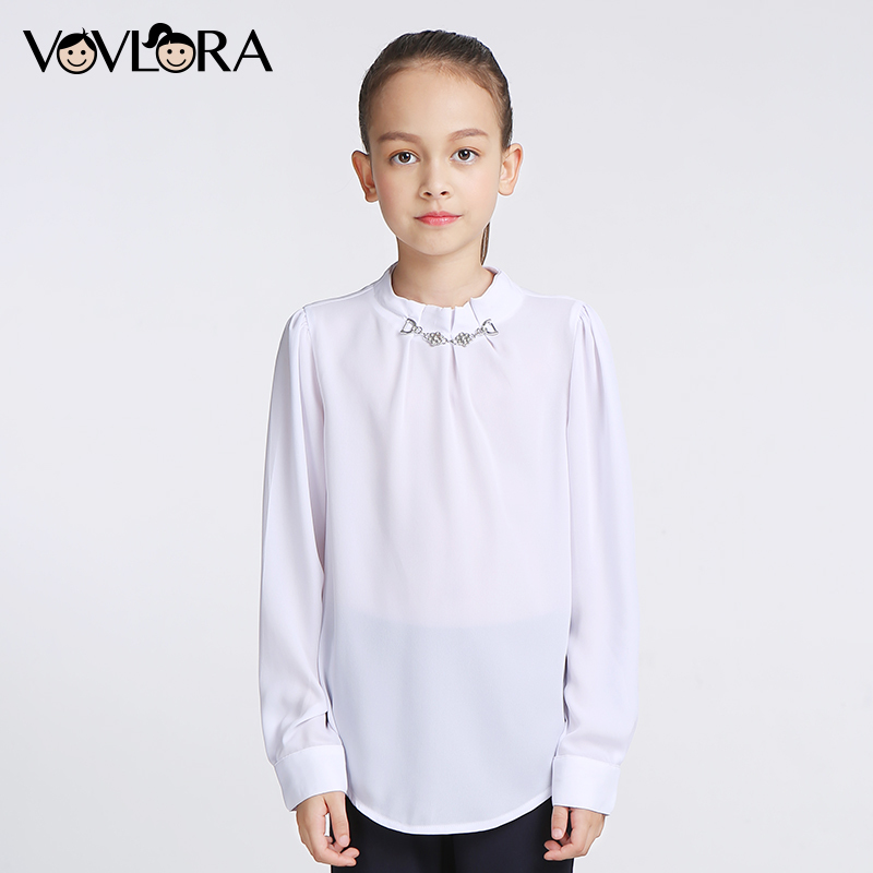Girls Blouses Tops Long Sleeve Chiffon White Kids School Blouse Solid O-neck Spring 2018 Children Clothes Size 9 10 11 12 13 14 black wave point lace up v neck long sleeves chiffon blouse