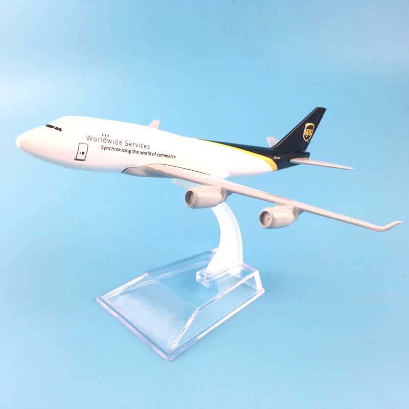 16cm Plane Model Airplane Model UPS Airlines Airplanes Boeing 747 Aircraft Model 1:400 Diecast Metal Plane Toy Gift Free