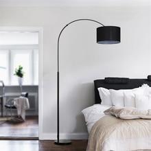 Nordic Cloth Shade Loft LED Floor Lamps Standing Lights Living Room Bedroom Bedside Fishing Fixtures