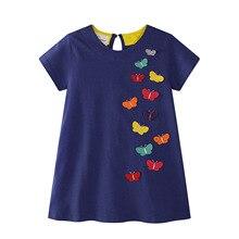 2019 summer kids dresses for girls blue Butterfly applique A-line princess dress Children Costume Robe Fille Kids Party Dresses