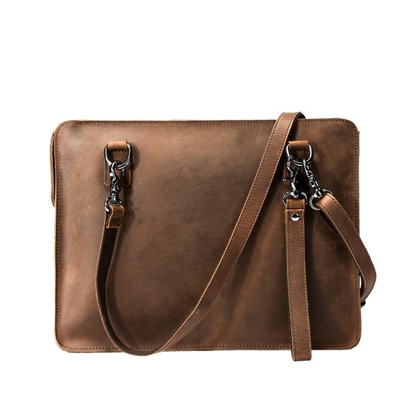 f9ac9d2d2d7a Мужской кожаный портфель пояса из натуральной кожи Портфели мужская сумка, бизнес  Crazy Horse кожа сумки