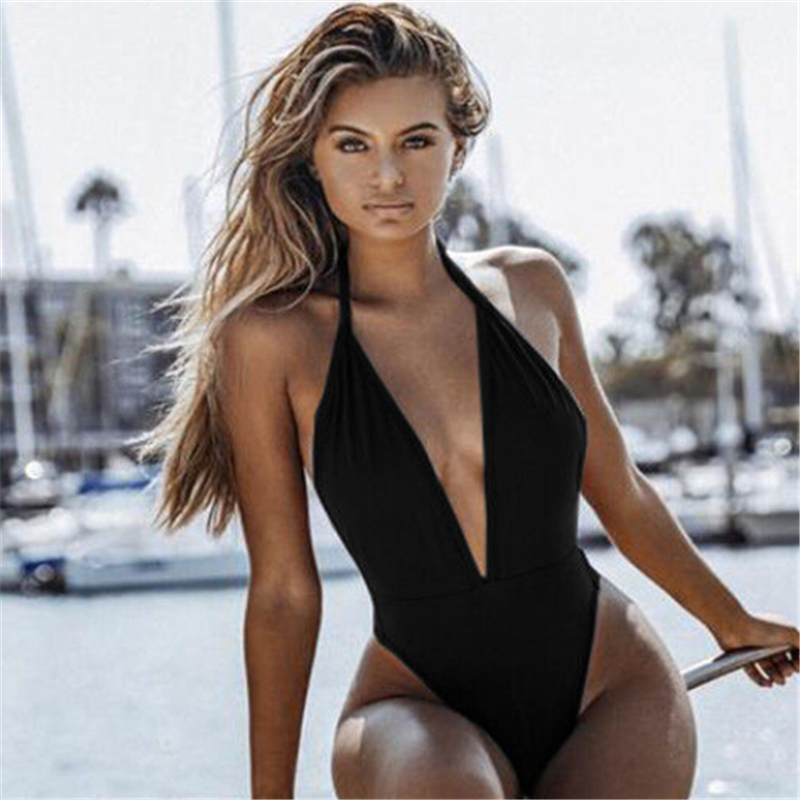 <font><b>2018</b></font> <font><b>Women</b></font> Deep V <font><b>One</b></font> <font><b>Piece</b></font> Swimsuit <font><b>Sexy</b></font> Backless <font><b>Swimwear</b></font> Solid <font><b>One</b></font>-<font><b>piece</b></font> Monokini <font><b>High</b></font> <font><b>Cut</b></font> Bathing Suit Beachwear Biquni NEW image