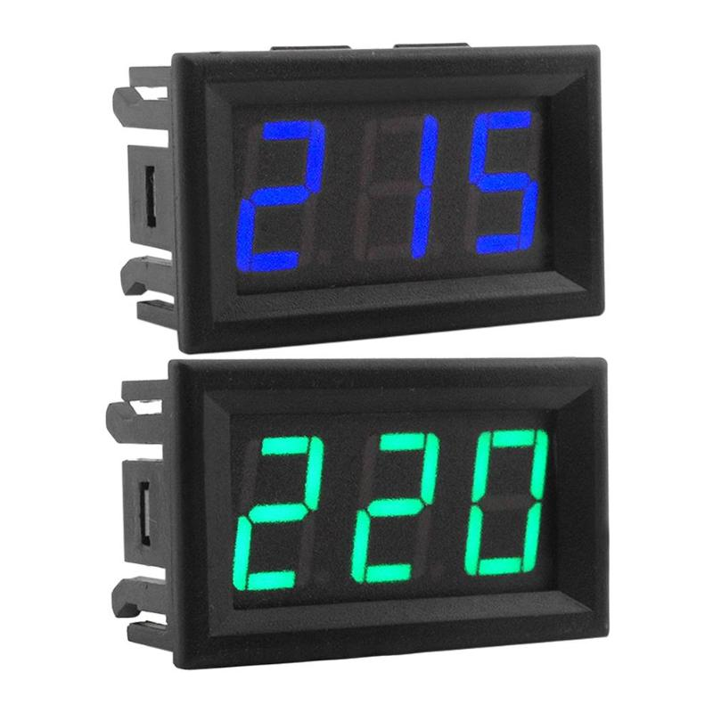 "Ac 70-500v 0.56"" Led Digital Voltmeter Voltage Meter Volt Instrument Tool 2 Wires Green Blue Display Diy 0.56 Inch"