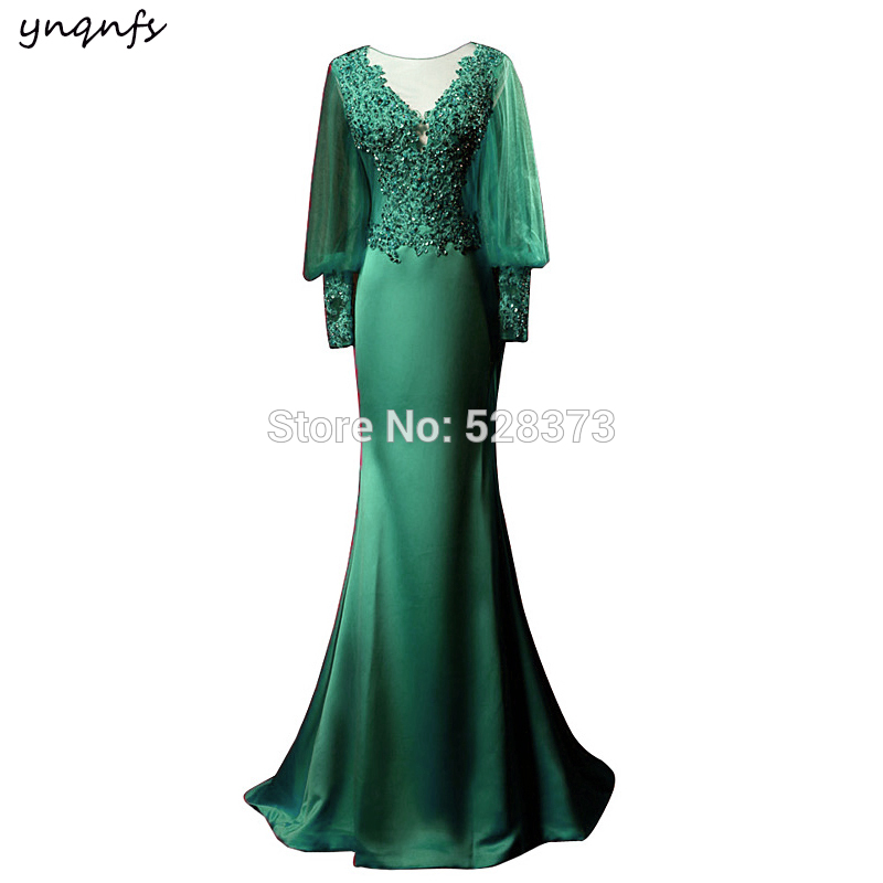 YNQNFS Real Emerald Green Mother Of The Bride Long Dresses Evening Mermaid Outfits Formal Dress Vestido De Festa Longo MD351