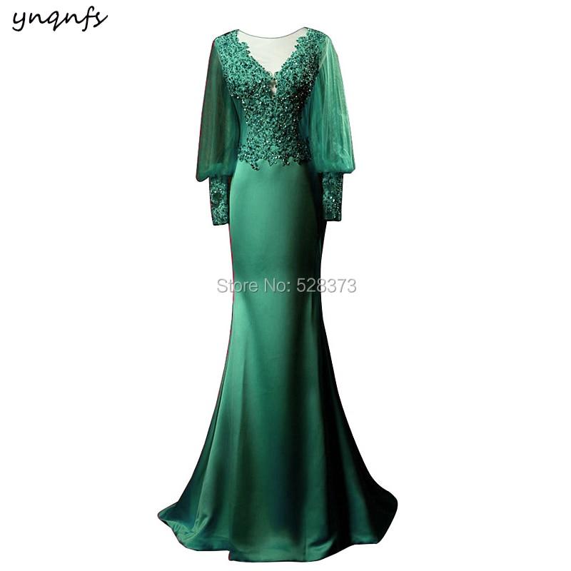 YNQNFS Real Emerald Green Mother Of The Bride Long Dresses Evening Mermaid Outfits Formal Dress Vestido De Festa Longo MD351