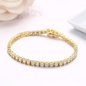 Image 4 - 3mm 925 Sterling Silver Gold Color Round AAA CZ Ziron Tennis Bracelets For Women Pulseras Pulseira Bracelete Jewelry Girl Friend