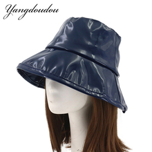 0958aff7 Yangdoudou New Fashion Faux Leather Bucket Hats Fisherman Cap Hip Hop  Sunscreen Sun Hats Gorras Casquette