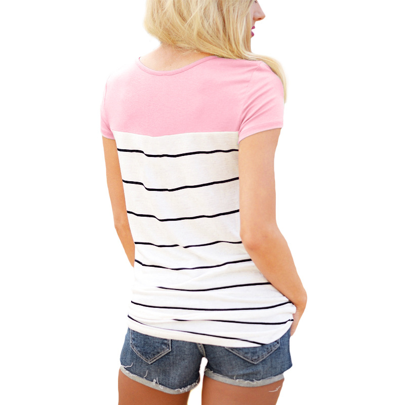 2019 Summer T Shirt Women Casual Short Sleeve O Neck Patchwork Striped Shirt Pocket Lace Top Tee T Shirt Female Loose Basic Tops in T Shirts from Women 39 s Clothing