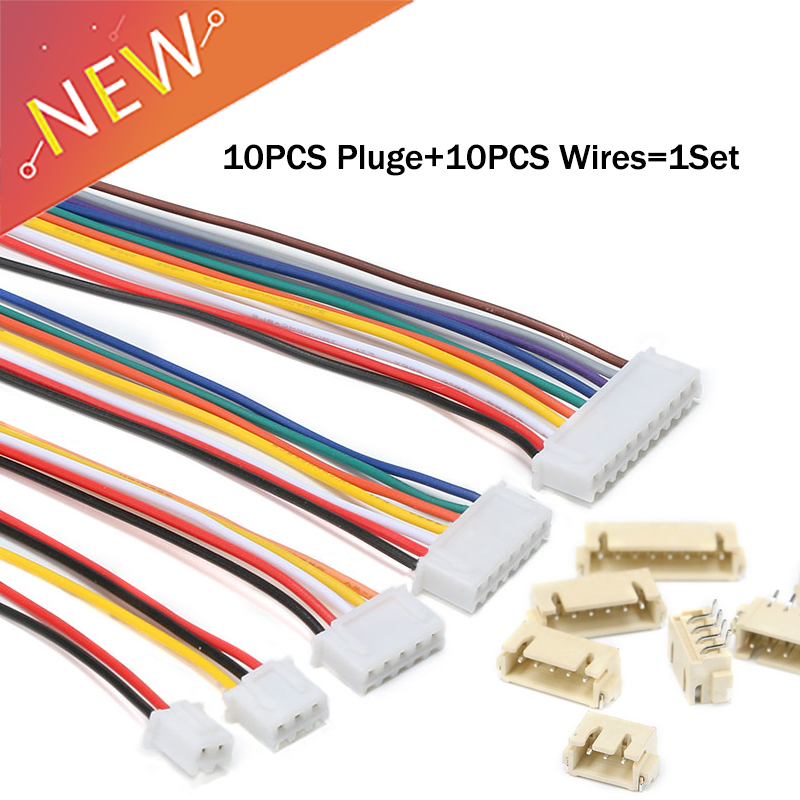 10Sets=10pcs JST Plug +10pcs XH2.54 XH 2.54mm Wire Cable Connector 2/3/4/5/6/7/8 Pin Pitch Male Female Plug Socket 26AWG wire