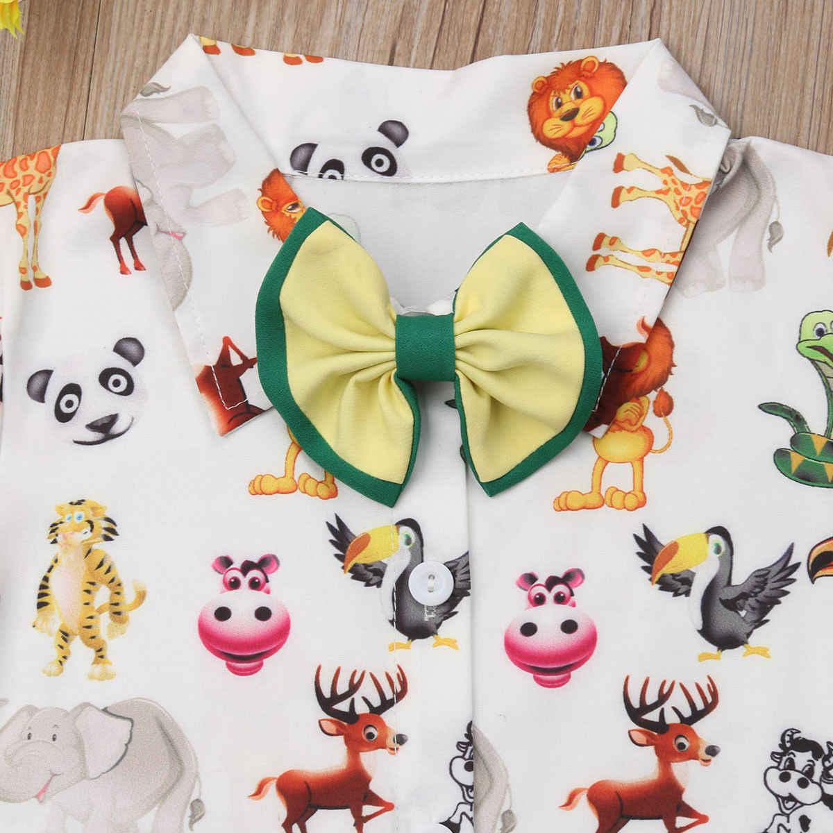 2019 Emmababy для маленьких мальчиков Свадебные крещение смокинг костюм мультфильм животных футболка с бабочкой зеленые шорты на подтяжках комбинезон одежды снаряжение