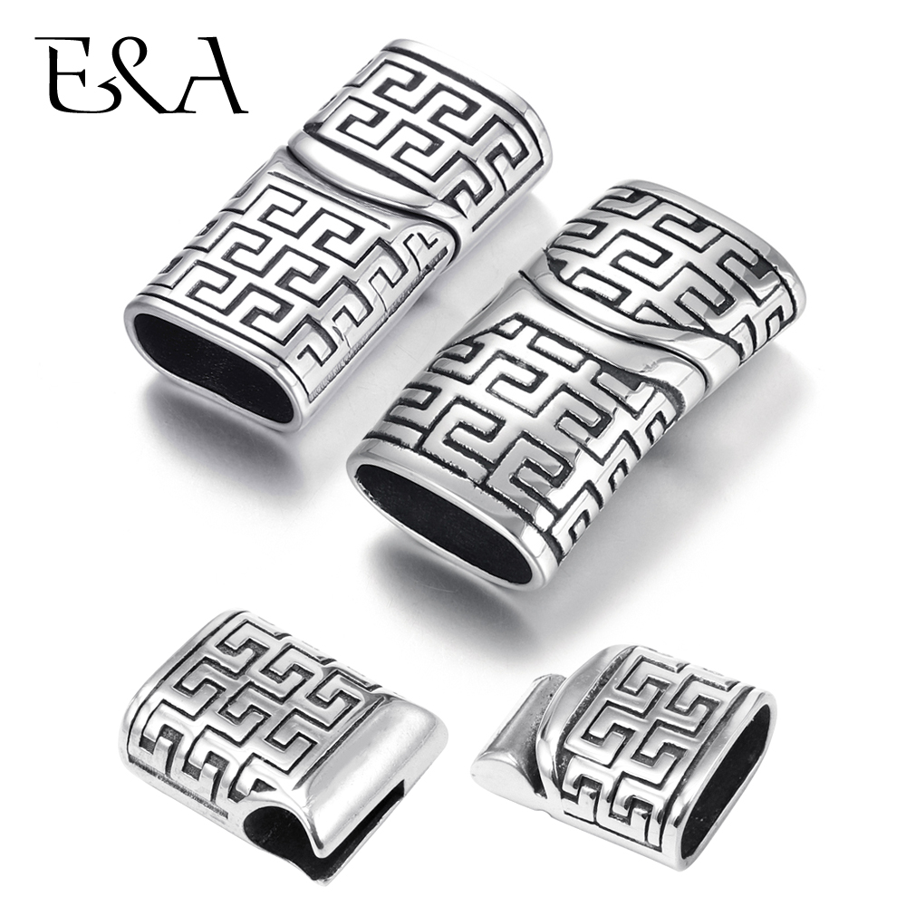 Stainless Steel Magnetic Clasp Hole 11*5.5mm 12*6.5mm Leather Cord Clasps Magnet Buckle DIY Bracelet Jewelry Making Components