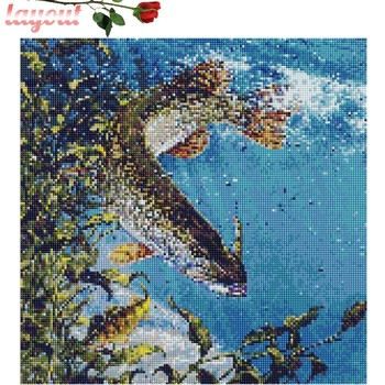 Huacan Diamond Painting Cross Stitch Fish Diamond Embroidery Sea Mosaic Crystal Dirll Picture Rhinestones Full