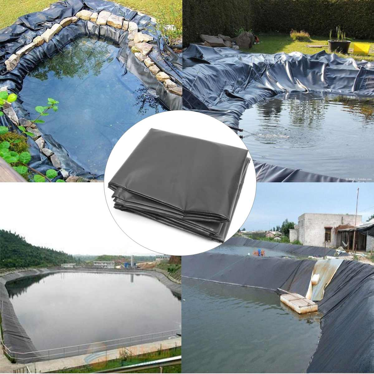 7x7m / 5x5m / 4x4m HDPE Fish Pond Liner Garden Pond Landscaping Pool Reinforced Thick Heavy Duty Waterproof Membrane Liner Cloth