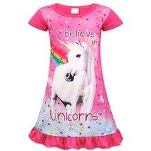AmzBarley Kids Dresses For Girls Rainbow Unicorn Sleep Shirts Printed Nightshirt Casual Nightie Princess Toddler Girl