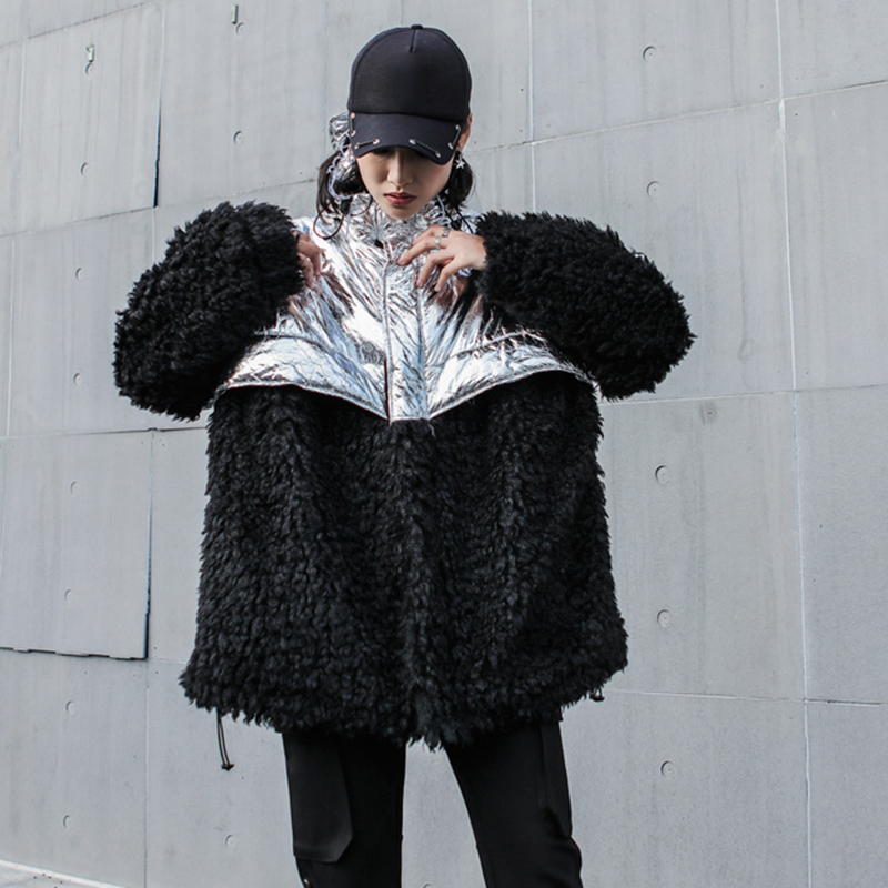 Veste Sispell Manches Femme Lâche Vêtements Mode Capuchon De Longues Vestes Manteau Épais Black D'hiver Zipper Femmes À Jacket Nouveau Vers Bas Patchwork Le rwqrYCSx