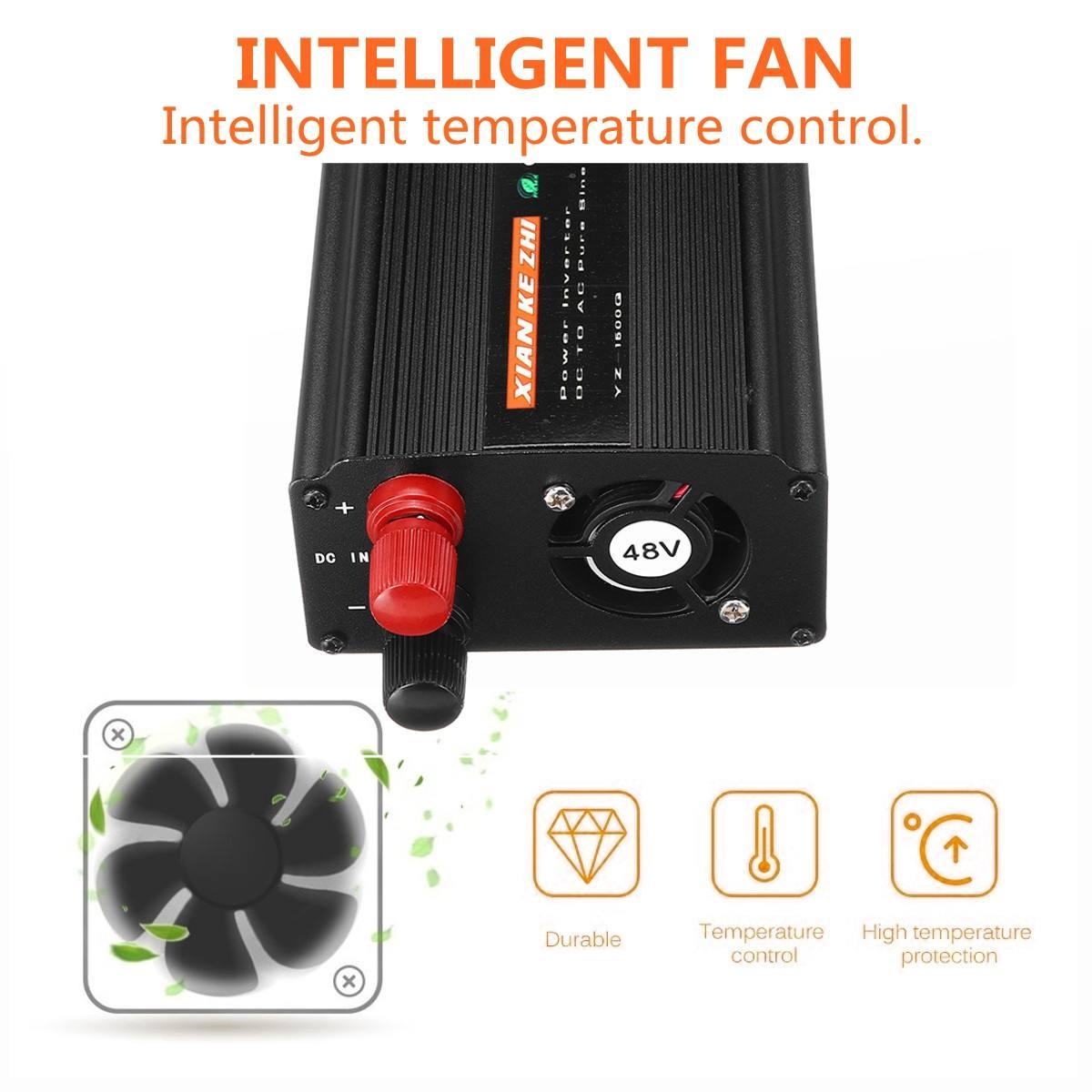 Onduleur à onde sinusoïdale Pure 1500W DC12V/24 V/48 V à AC220V 50HZ Booster de convertisseur de puissance pour onduleur de voiture bricolage domestique - 3