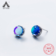 New Luxurious Earrings S925 Sterling Silver Shining Statement Blue Crystal Stud Fine Jewelry Girl