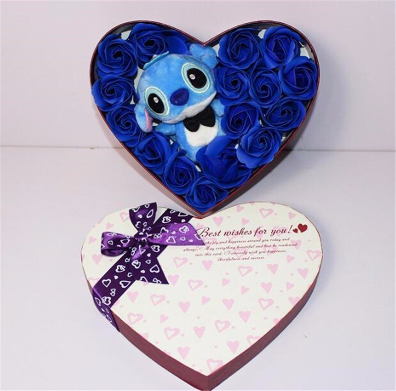 Stitch Plush Doll  Hand Made Teddy Bear Pink And Blue Stitch Plush Toy With Soap Flower Stitch Bouquet Creative Valentine's Gift