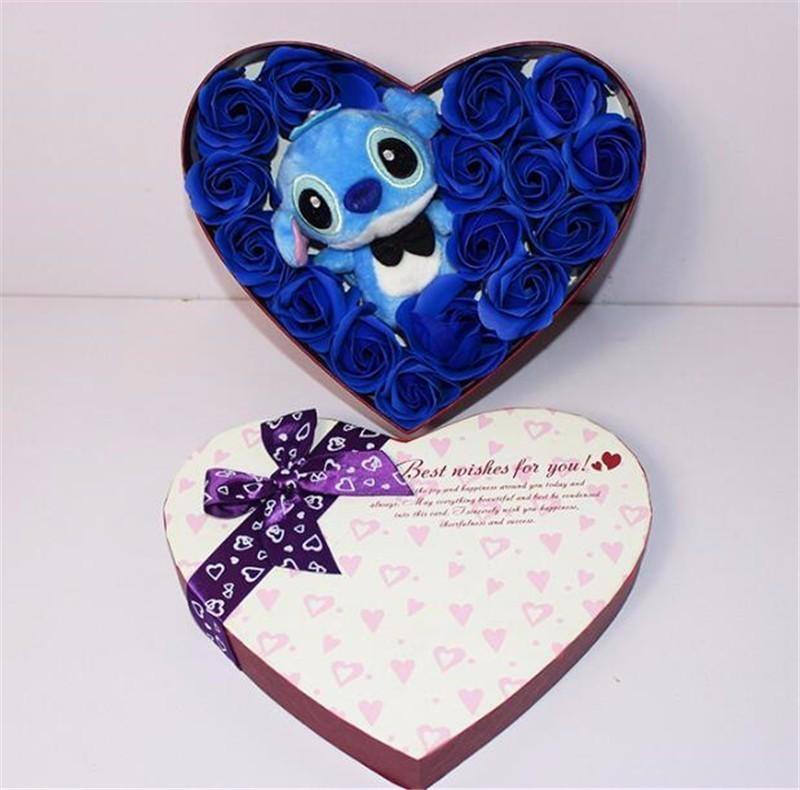 Плюшевая кукла Ститч ручной работы Мишка Тедди розовый и синий Ститч плюшевая игрушка с мылом цветочный Ститч букет креативный подарок на д...