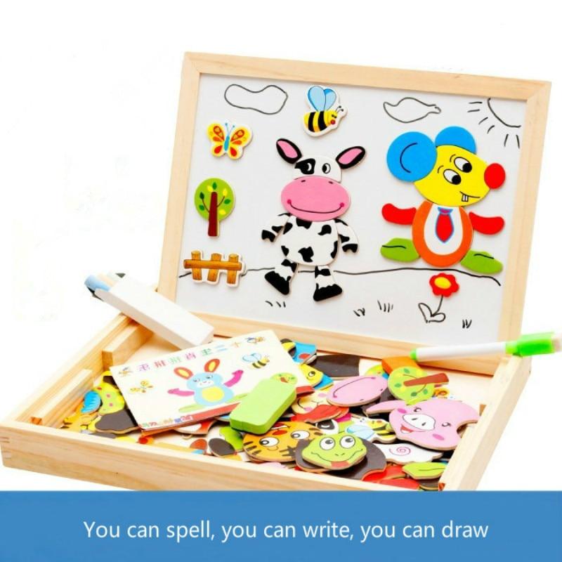 Enfants Populaires En Bois Jouets Éducatifs Début Enfants Puzzle jouets pour bébés Enfance Chinois Zodiaque Magnétique Heureux Couleur puzzle