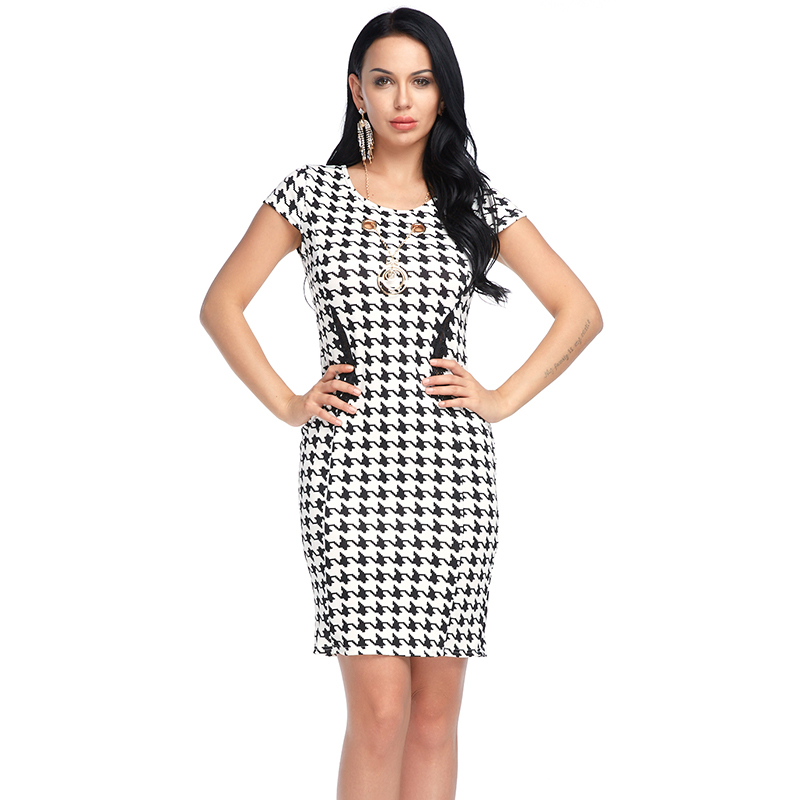 Women  Short Sleeve Dress Sexy Midi Work Round Neck Dresses Summer Vintage Plaid Print Hollow Out Elegant Party Bodycon Dress
