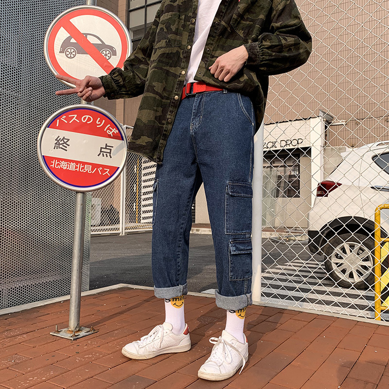 Men 39 s Summer Loose Casual Pants Fashion Trend More Cargo Pocket Work Baggy Homme Jeans men Blue Color Trousers Hot Sale in Jeans from Men 39 s Clothing