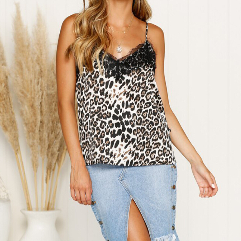 2019 Summer Lace Camis Top Women Sexy Vest Top Leopard Print Camisole V Neck Tops Sleeveless Strap Tops Femme Top