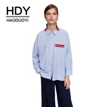 HDY Haoduoyi  2019 New Personality Lapel Coat Chest Contrast Belted Patch Pocket Single-breasted Asymmetrical Hem Striped Shirt