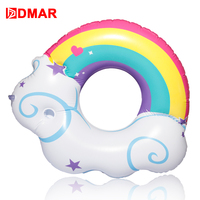 DMAR Inflatable Rainbow Cloud Giant Pool Float Toys Swimming Ring Water Mattress Lifebuoy Kid Adults Beach Party Sea Flamingo