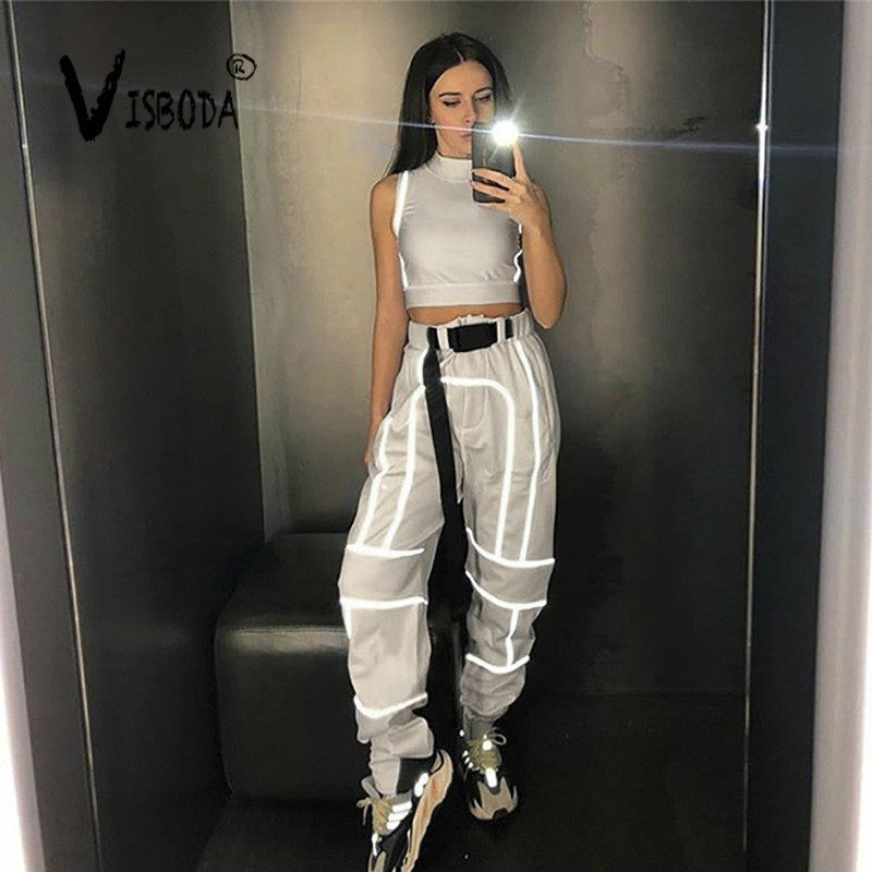 Women 2 Piece Tracksuit Glow Reflective Cropped Top Loose Pants Sets Fashion Female Shine Black Tank Top Trouser Chandal Mujer