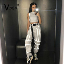 цена на Women 2 Piece Tracksuit Reflective Cropped Top Loose Pants Sets Fashion Female Shine Black Tank Top And Trouser Chandal Mujer