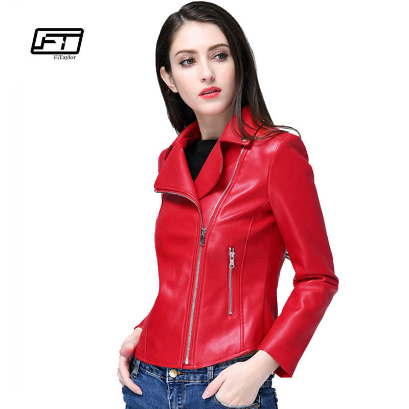 08fc40da3127 Fitaylor New 2019 Red Black Leather Jacket Women Faux Leather Coats Slim Pu Leather  Spring Bomber