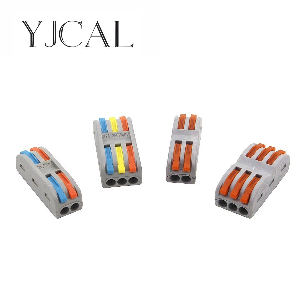 YJCAL Color Wago Type 10PCS Safety Electrical Terminals Household Wire Butt Splitter