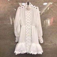 Long Sleeve High Waist Hollow Out Ruffle Hem Shirt Dresses