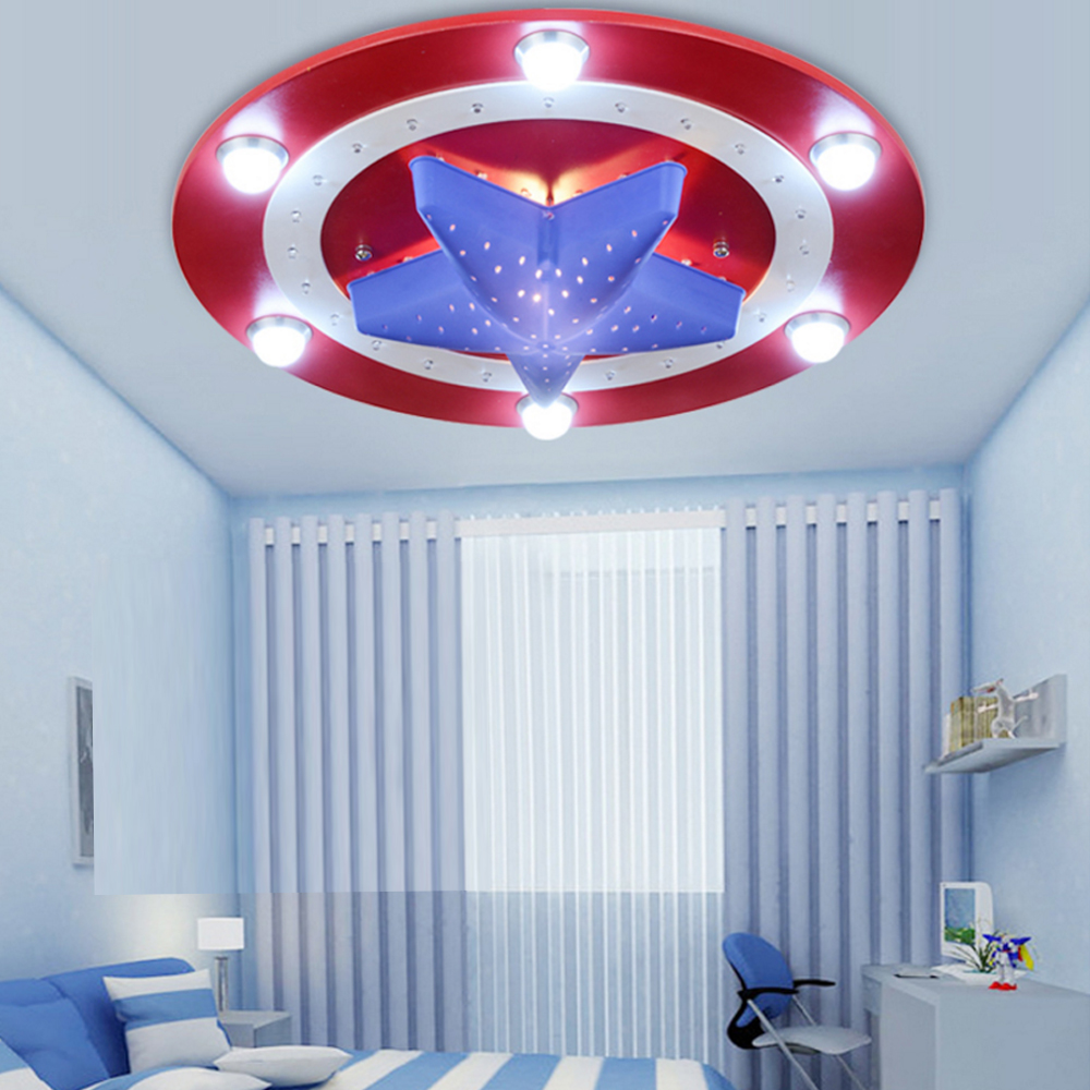 Kid's Room Lighting Captain America Lights Kids' Bedroom Cartoon 6LED*3W&24LED*0.3W for Bedroom Home Decoration Ceiling Lamp
