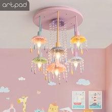 цены Princess Pink Kids Ceiling Light Colorful Droplight Children Baby Kindergarten Room Nursery LED Crystal Glass LED Lustre Lamp
