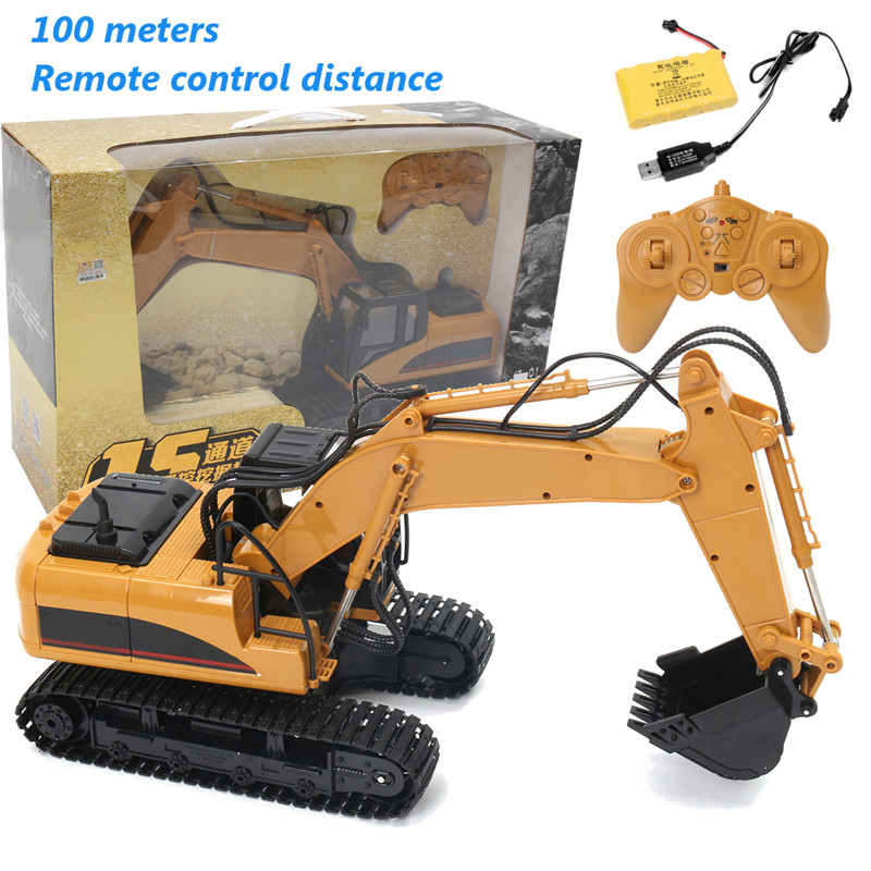 1:14 Scale 15 Channel Remote Control Excavator Model Construction Site Engineering Vehicle RC Toys Kids Electric Car Toy Gifts children s electric educational remote control excavator model 2 4g remote control rc construction vehicle engineering truck toy
