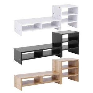 Image 1 - Soporte vertical para Monitor de ordenador portátil organizador de almacenamiento de madera de escritorio + herramienta de estante de 3 capas