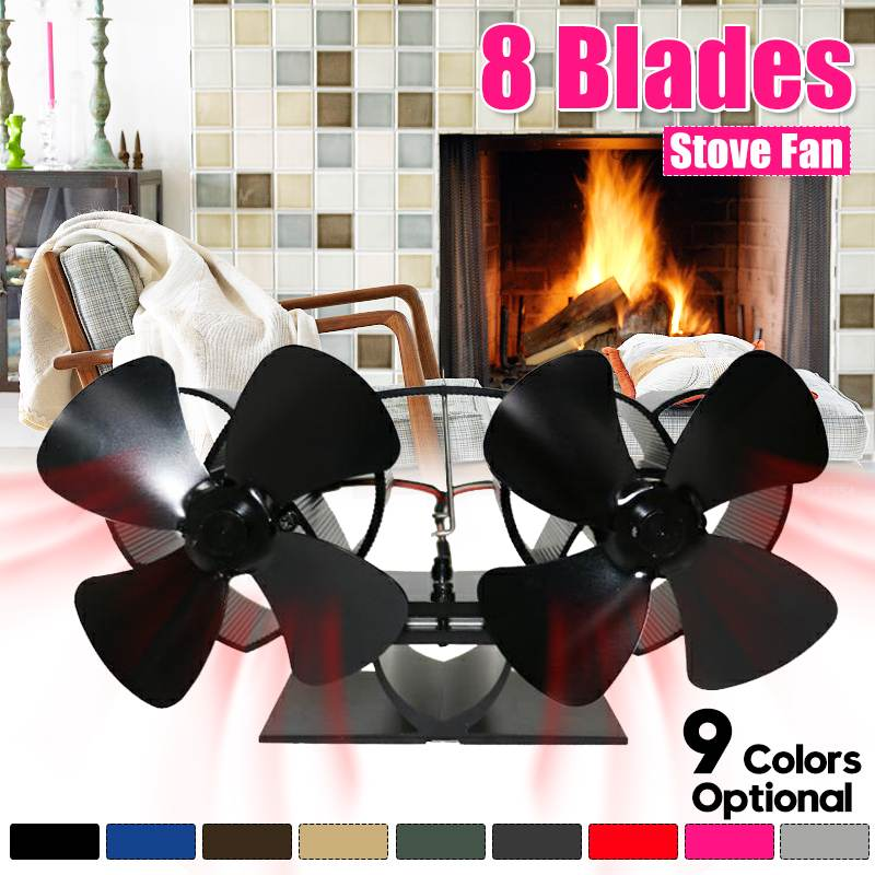 Extra Mini Twin Blade Stove Fan Fireplace Fan Heat Powered Komin Wood Burner Eco Fan Quiet Home Efficient Heat Distribution