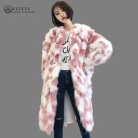 2020 Autumn Winter Colorful Plush Coat Women Teddy Jacket Faux Fox Fur Coats Long Warm Cardigan Single Breasted Outwear OKD606