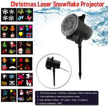 12 Patterns Christmas Laser Snowflake Motion Projector Outdoor LED Waterproof Disco Lights Home Garden Star Light