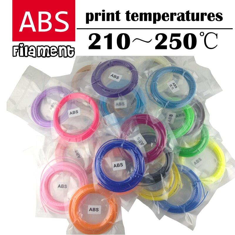LIHUACHEN 3d caneta Impressora de Filamento filamentos ABS 1.75 milímetros de plástico 3D Materiais 5/10 Metros 10/20 cores total de 100 Ou 200 Metros