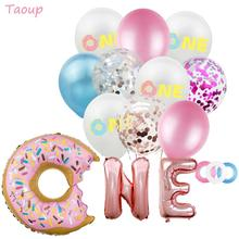Taoup Donut Balloons Confetti 1 Year Birthday Decors Round Ballons Accessories First One Happy Childrens Air