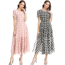 Summer Plaid Women Maxi Dress Round Neck Short Sleeve Fashion Design Dresses